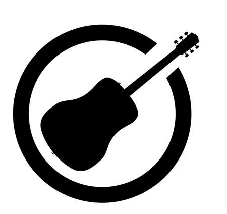 Acoustic guitar as as rubber ink stamp in black, isolated over a white background. Illustration