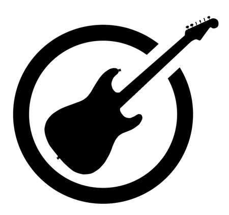 La guitarra definitiva del rock and roll como sello de tinta de goma en negro, aislado sobre un fondo blanco.