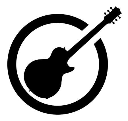 electrics: The definitive rock and roll guitar as as rubber ink stamp in black, isolated over a white background. Illustration