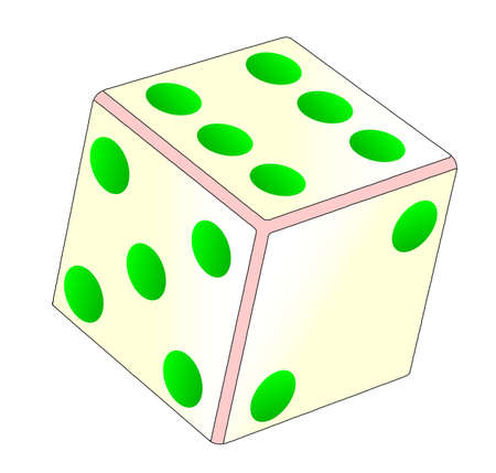 thrown: A tumbling dice over a white background