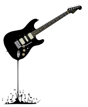 stratocaster: A black rock guitar melting down with musical notes spashing around at the base. Illustration