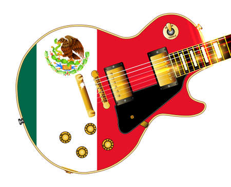 The definitive rock and roll guitar with the Mexican flag isolated over a white background.