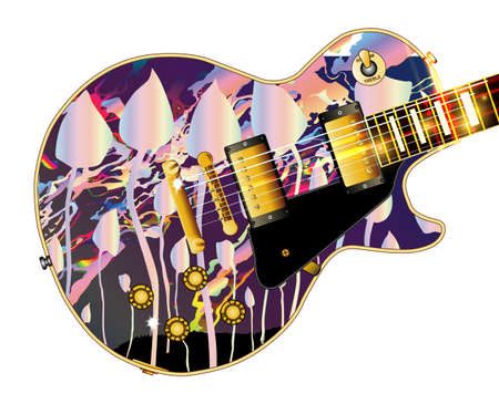 The definitive rock and roll guitar with magic mushrooms isolated over a white background.