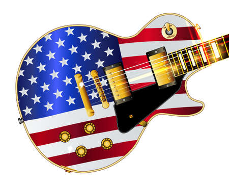 The definitive rock and roll guitar with the USA flag isolated over a white background.