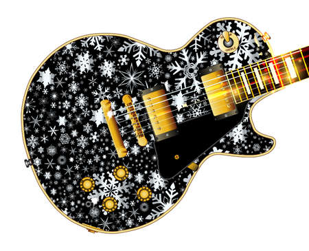 paul: The definitive rock and roll guitar with snowflakes isolated over a white background.