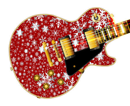The definitive rock and roll guitar with snowflakes isolated over a white background.