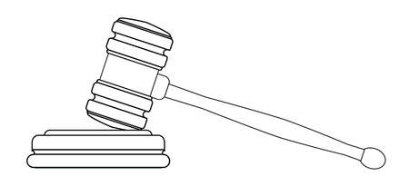 gravel: Line drawing of a gravel as used by judges in a court of law and auctioneers over a white background