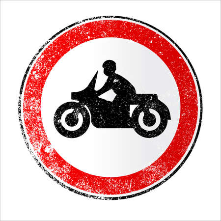 A large round red traffic displaying a motorcycle Illustration