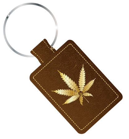 A brown leather key fob and ring with a marijuana gold leaf icon