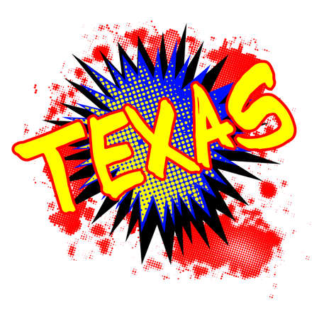 A comic cartoon style TEXAS exclamation explosion over a white background Illustration