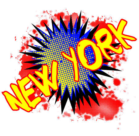 bombing: A comic cartoon style New York exclamation explosion over a white background