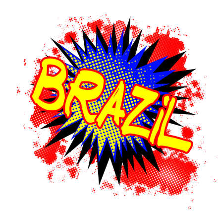 bombing: A comic cartoon style Brazil exclamation explosion over a white background