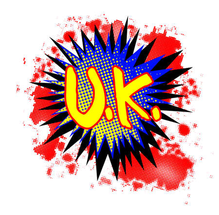 A comic cartoon style UK exclamation explosion over a white background