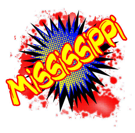 bombing: A comic cartoon style Mississippi exclamation explosion over a white background