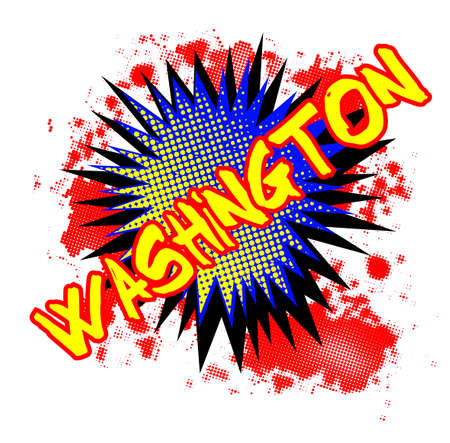 A comic cartoon style Washington exclamation explosion over a white background