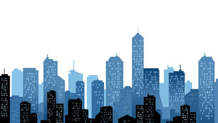 A blue city landscape of skyscrappers.