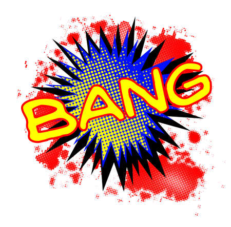 A comic cartoon style Bang exclamation explosion over a white background