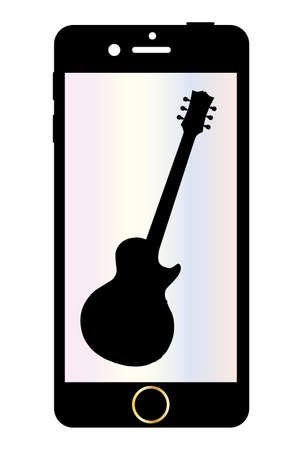 gibson: A generic mobile phone with a guitar on the screen over a white background