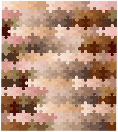 A multi coloured skin tone jigsaw over a white background
