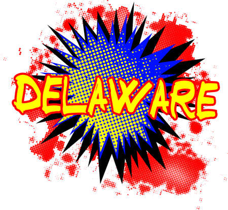A comic cartoon style Delaware exclamation explosion over a white background Illustration