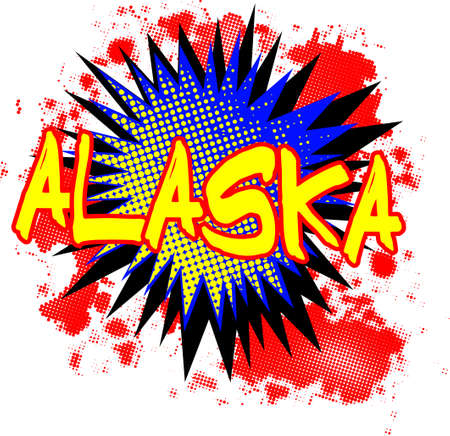 bombing: A comic cartoon style Alaska exclamation explosion over a white background