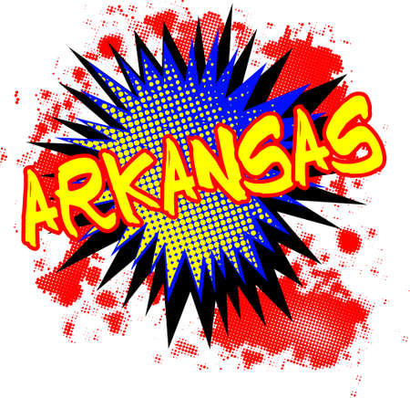 A comic cartoon style Arkansas exclamation explosion over a white background Illustration