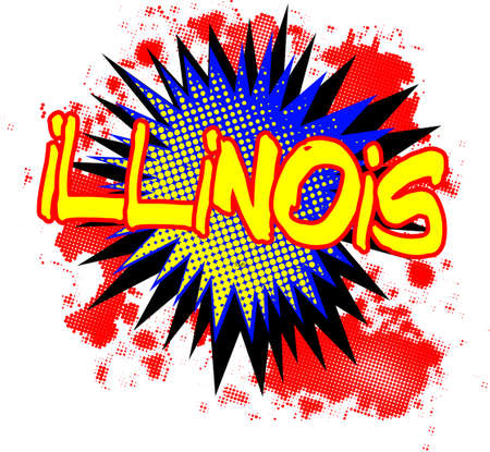bombing: A comic cartoon style Illinois exclamation explosion over a white background