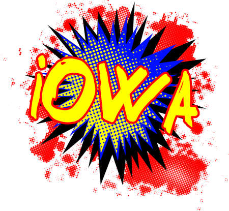 bombing: A comic cartoon style Iowa exclamation explosion over a white background