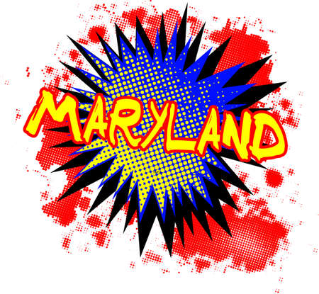 bombing: A comic cartoon style Maryland exclamation explosion over a white background
