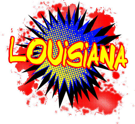 A comic cartoon style Louisiana exclamation explosion over a white background. Illustration