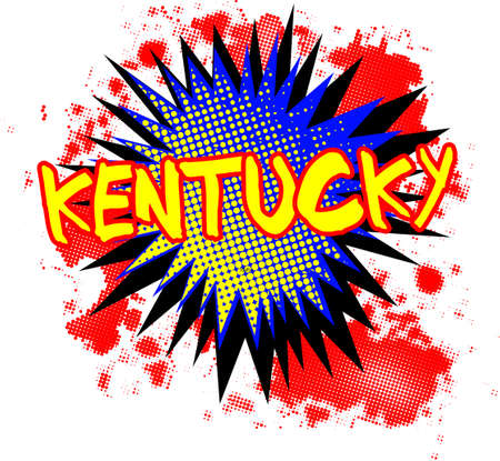 A comic cartoon style Kentucky exclamation explosion over a white background