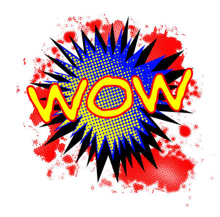 A comic cartoon style Wow exclamation explosion over a white background Illustration