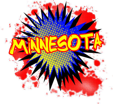 A comic cartoon style Minnesota exclamation explosion over a white background