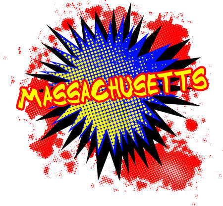 bombing: A comic cartoon style Massachusetts exclamation explosion over a white background