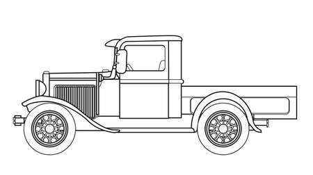 fashioned: An early old fashioned pickup truck over a white background