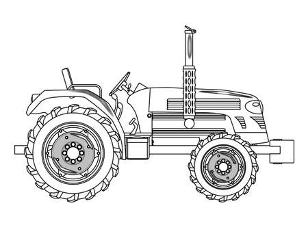 unused: A typical modern farmyard tractor over a white background