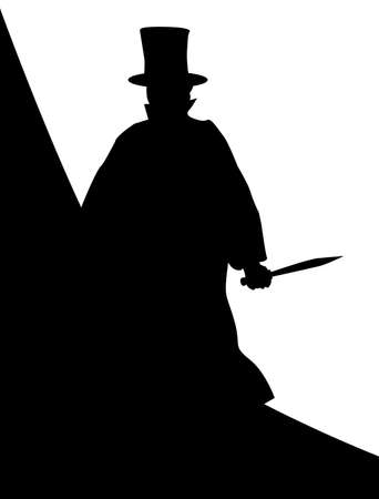cloak and dagger: Jack the Ripper in silhouette over a white background. Illustration