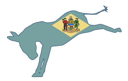The Delaware Democrat party donkey flag over a white background