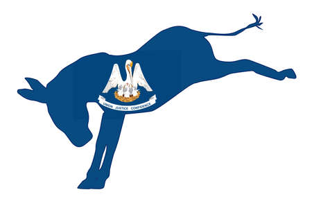 The Louisiana Democrat party donkey flag over a white background Illustration