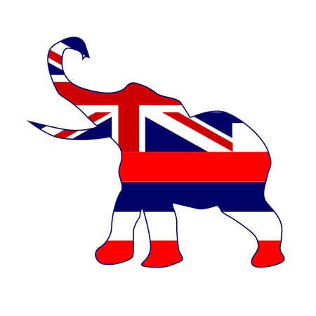 The Hawaii Republican elephant flag over a white background