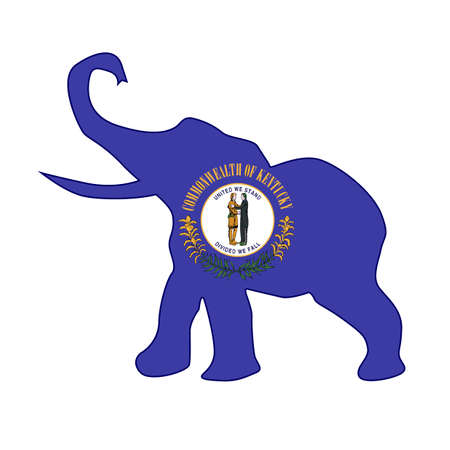 The Kentucky Republican elephant flag over a white background