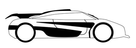 A fast car in outline and isolated on a white backgound
