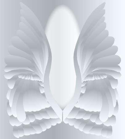 Un gran par de alas de estilo angelical plateado.