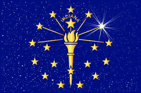 The state flag of the US state if Indiana with stars as abstract