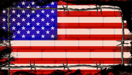 The Stars and Stripes Flag on a brick wall with barbed wire border