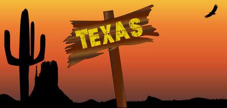 Una escena de la puesta del sol del desierto de Texan con cactus