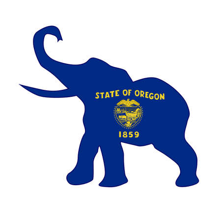 The Oregon Republican elephant flag over a white background