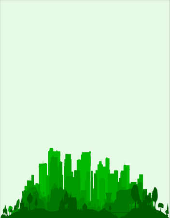 The very edge of a city, trees and buildings in emerald green as a background Illustration