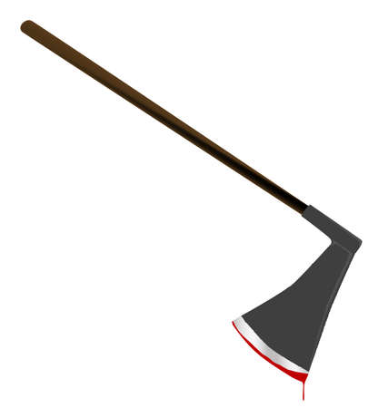 A medievil style executioners axe with blood isolated on a white background