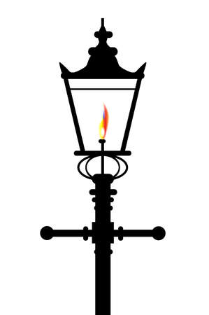 A typical old London gaslight with flame and glow over a white background Vectores